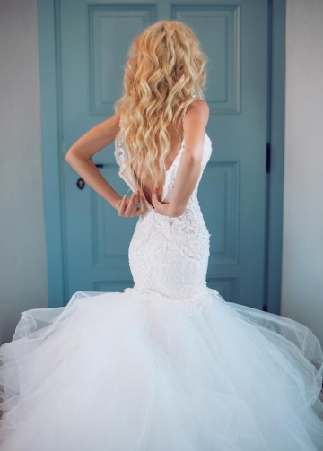 Tulle and Lace Mermaid Wedding Dresses Long Train