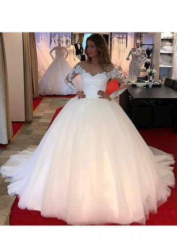 Tulle Ball Gown Wedding Dresses with Lace Long Sleeves 2020