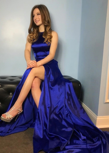 Thigh-high slit Royal Blue Long Prom Gown with Hollow Back