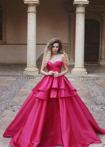 Tiered Ball Gown Sweetheart Sexy Prom Dress Fuchsia