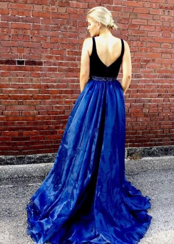 Two-tone V-neck A-line Prom Long Dresses with Bead Belt