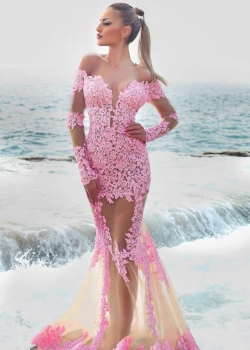 Trumpet Pink Lace Prom Dresses with Sheer Long Sleeves