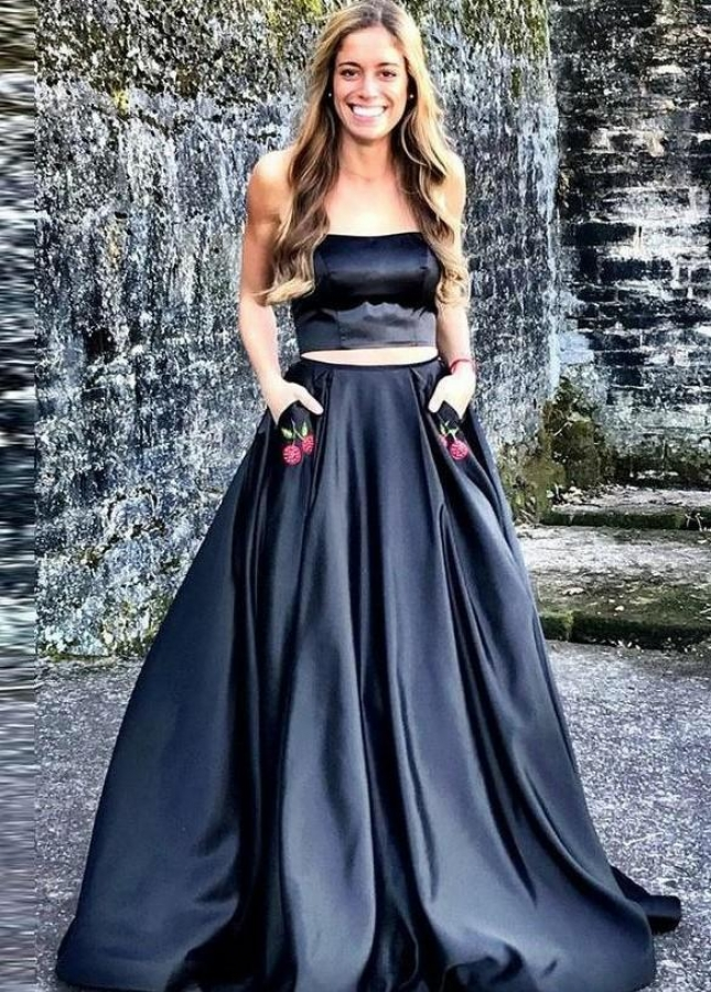 Two Piece Dark Navy Prom Dress with Cherry Embroidery Pockets
