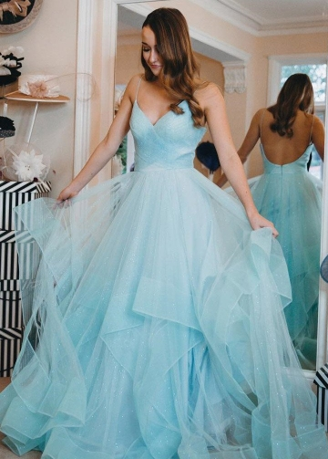 Tiffany Blue Tulle Prom Dress with Horsehair Trim
