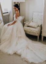 Tulle Skirt Off the Shoulder Floral Wedding Dresses