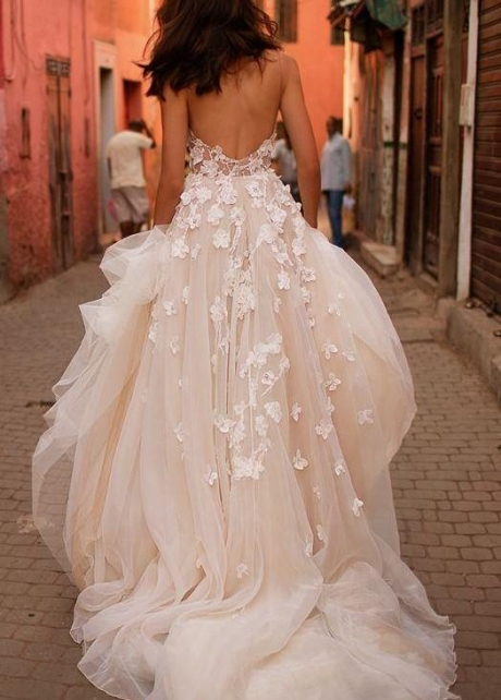 Tulle Skirt Champagne Floral Wedding Dresses Lace Sweetheart