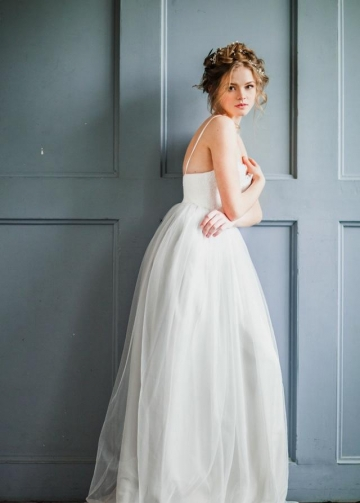 Tulle Skirt Girl Wedding Dresses with Lace Bodice