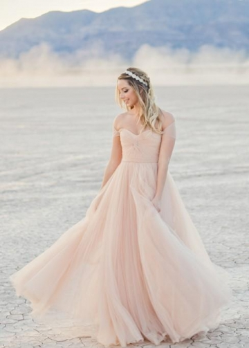Tulle Champagne Bride Dresses for Beach Weddings