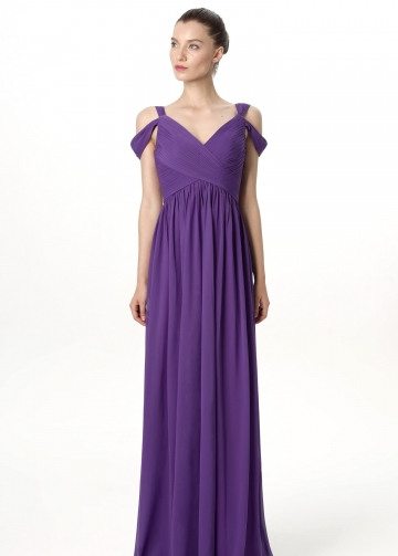 Unique Off-the-shoulder Chiffon Purple Long Bridesmaid Wedding Guest Dresses
