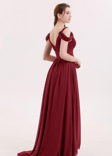 Unique Off-the-shoulder Burgundy Bridesmaid Gowns Long Chiffon Skirt