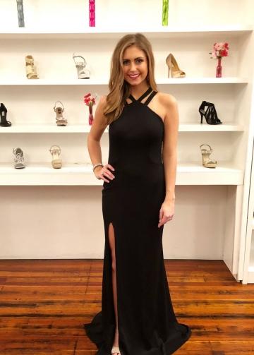 Unique Halter Neck Maxi Side Slit Black Long Prom Dresses