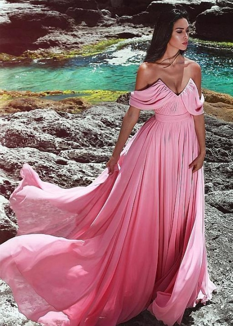 Unique Neckline Pink Prom Long Dresses Chiffon Skirt