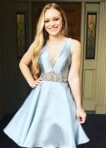 V-neckline Light-Blue Satin Short Party Dress with Beaded Waistband