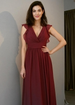 V-neck Burgundy Chiffon Long Bridesmaid Dresses with Flounced Sleeves