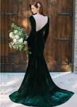 V-neckline Velvet Dark Green Bridesmaid Dress Long Sleeves