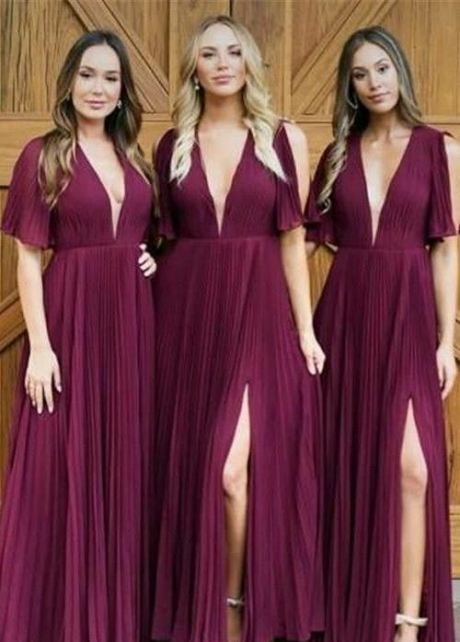 V-neckline Burgundy Chiffon Bridesmaid Dresses with Sleeves