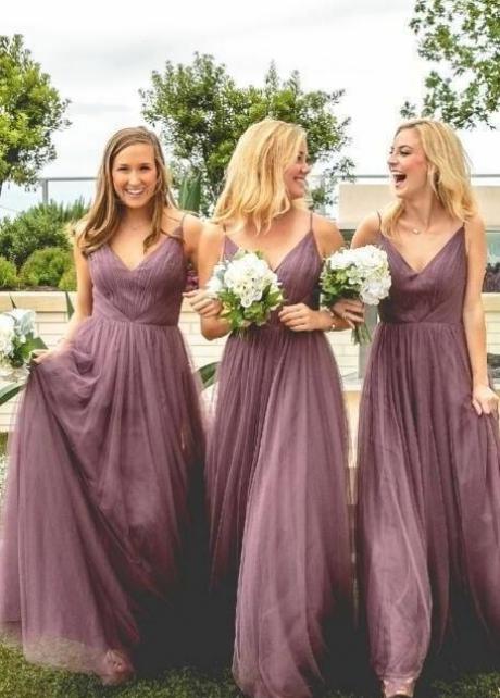 V-neckline Mauve Bridesmaid Dress Long Tulle Skirt