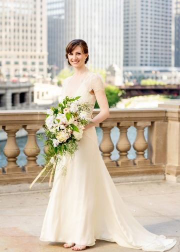 V-neckline Sheer Lace Chiffon Short Sleeves Wedding Gown Malaysia