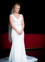 V-neckline Satin Wedding Gown Lace Cap Sleeves