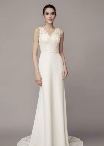 V-neckline Sheath Wedding Dress with Lace Splice Satin Skirt