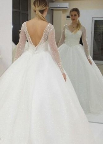 V-neck Sequin Ball Gown Wedding Dress with Beaded Sheer Long Sleeves