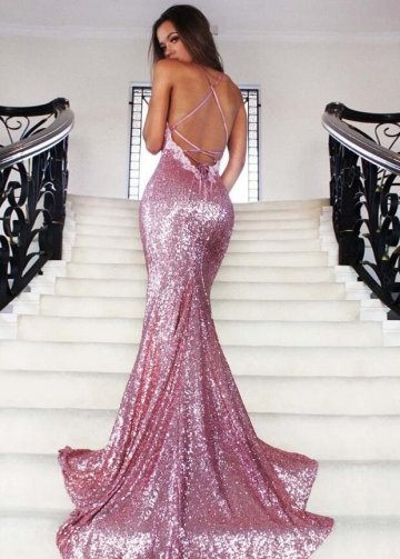 V-neck Spaghetti Straps Mermaid Sequin Prom Dresses