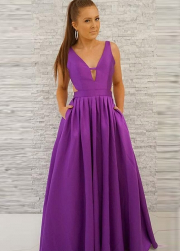 V-neckline A-line Satin Purple Prom Long Dresses with Pockets