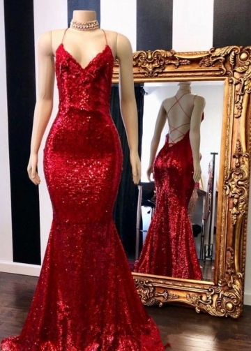 V-neckline Red Sequin Evening Prom Dresses Mermaid Style
