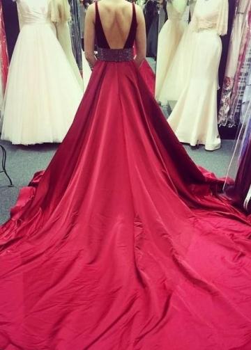 Velvet Bodice Elastic Satin Prom Dress with Stones Belt