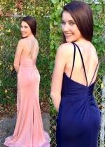V-neckline Strappy Backless Sexy Formal Dress Long Slit Side