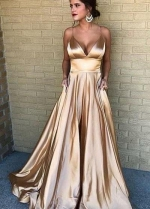 V-neckline Prom Long Party Dress with Spaghetti Straps