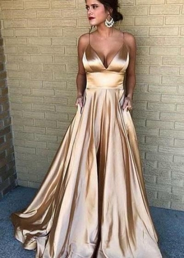V-neckline Prom Long Party Dress with Spaghetti Straps