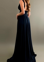 V-neckline Maxi Long Prom Dress with Wide Waistband