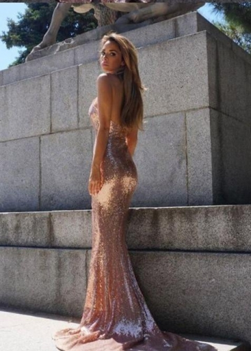 V-neckline Sparkling Sequin Prom Dress Mermaid Train