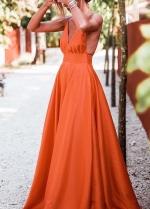 V-neckline Satin Orange Prom Dresses Floor Length