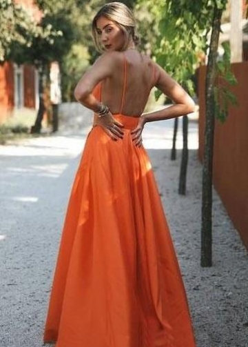 V-neckline Satin Orange Prom Dresses Floor Length