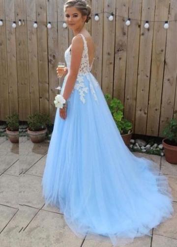 V-neck White Lace Appliques Blue Tulle Prom Dresses Long