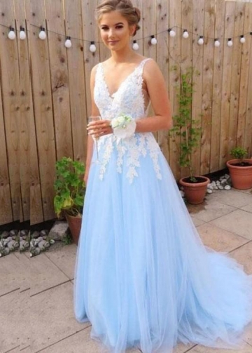 V-neck White Lace Appliques Blue Tulle Prom Dresses Long