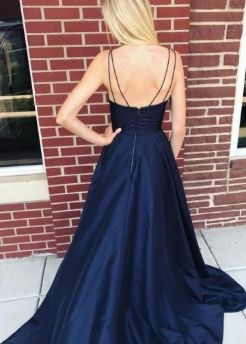 V-neckline Satin Navy Blue Prom Gowns with Pockets