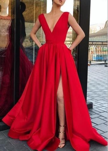 V-neckline Twin Pockets Red Long Prom Dress with Side Slit