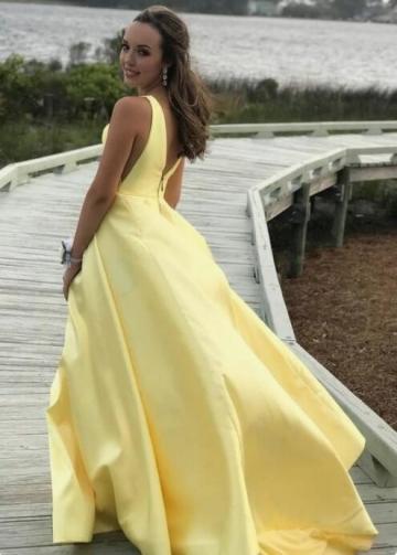 V-neckline Satin Sleeveless Yellow Prom Dress