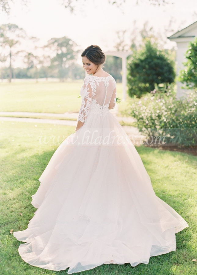 V-neck Lace Three Quarter Sleeves Organza Wedding Dresses
