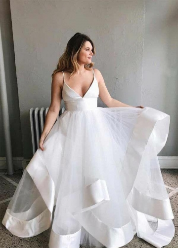 V-neck Satin Tulle Wedding Gown Dress with Ribbon Edge