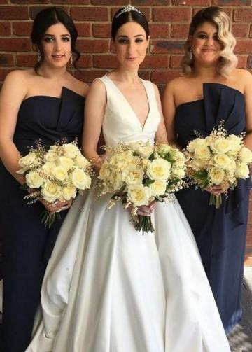 V-neckline Satin Bridal Gown Dress for Wedding 2020
