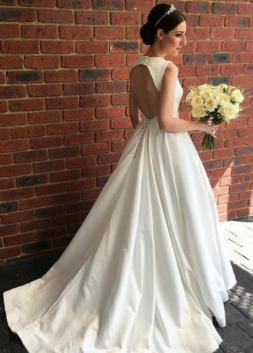 V-neckline Satin Bridal Gown Dress for Wedding 2020