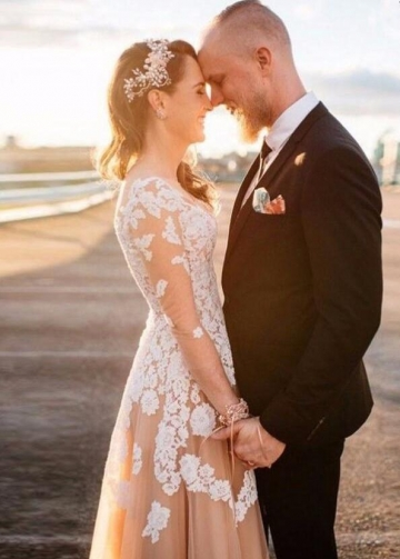 V-neckline Lace Champagne Wedding Gown with Illusion Long Sleeves