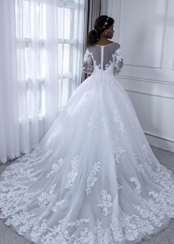 Vintage Lace White Wedding Dress with Illusion Sleeves