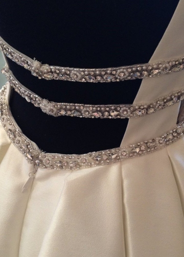 V-neckline Satin Wedding Gowns with Beading Belt