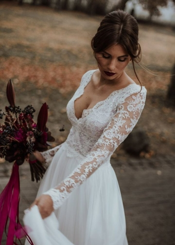 V-neckline Beach Bridal Dress with Sheer Lace Sleeves