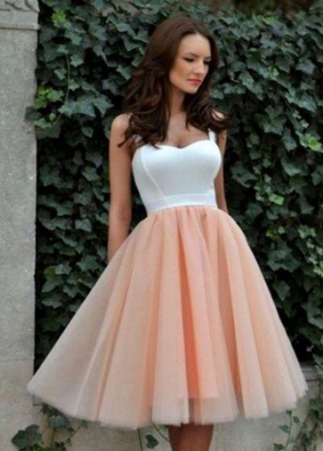 White&Blush Pink Tulle Homecoming Gown with Double Straps